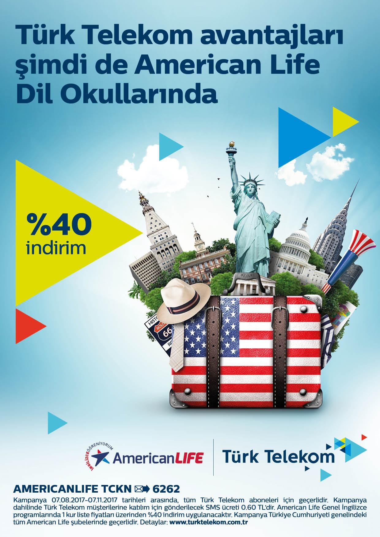Türk Telekom Avantajları Şimdi American LIFE Dil Okullarında